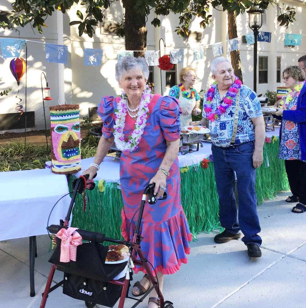East Ridge Residence | Residents at tropical-themed event